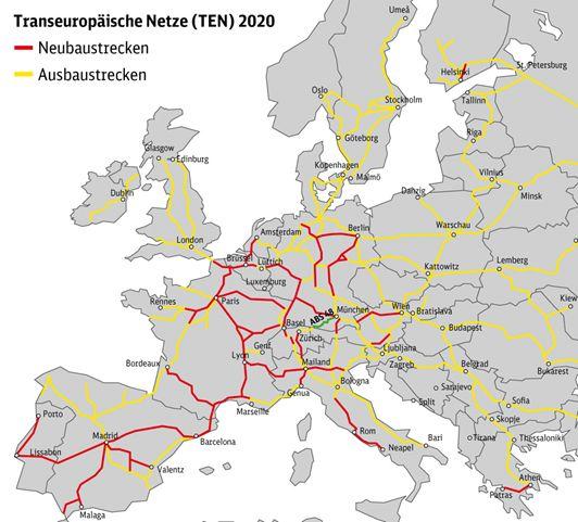 Karte der Transeuropäischen Netze 2020