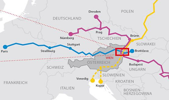 Karte zeigt TEN Knotenpunkt Wien