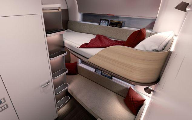 Ein Blick auf das moderne neue Liegewagendesign des Nightjets.