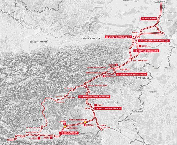 Eine Grafik des Verlaufs der Südstrecke